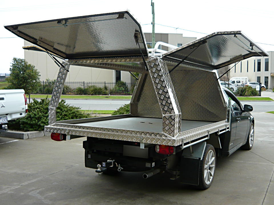 Three door fixed aluminium canopy on Ford Falcon & Aluminium Ute Canopies Melbourne - Aussie Tool Boxes