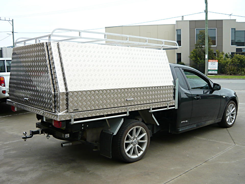 Three door fixed canopy with roof rack fitted to Falcon ute & Aluminium Ute Canopies Melbourne - Aussie Tool Boxes